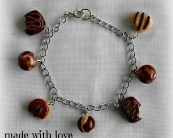 Polymer clay chocolate bracelet