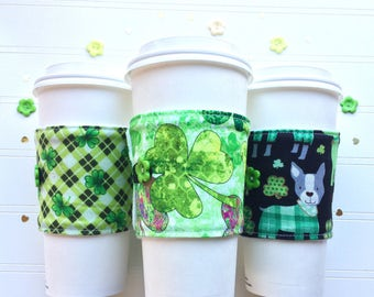 Coffee Cup Cozy, Coffee Cup Sleeve, Cup Cozy, Cup Sleeve, Reusable Coffee Sleeve - St. Patrick's Day Shamrocks [77-79]
