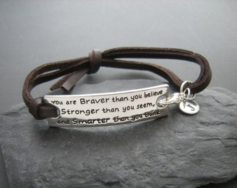 Graduation gift, Motivational quote, inspirational jewelry, You are braver than you believe, stronger...motivational bracelet, personalized