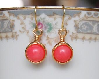 Pink Coral Earrings , Bridesmaid Earrings , Gold Drop Earrings , Pink Coral Gold Earrings