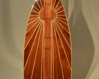 """Wooden Canoe Paddle, 14 Degree S-Blade, """"Morning Sun"""", Softwood Edition"""