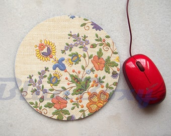 Flower Mousepad, Office Mousepad, Computer Mouse Pad, Fabric Mousepad