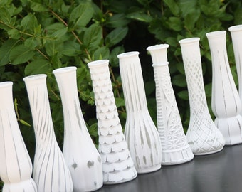 White Vase Set Of Twelve Shabby Chic Vintage Distressed Bud Vases