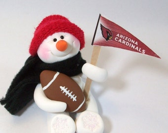 Arizona Cardinals: Football snowman ornament