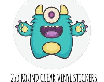 Custom Labels Clear- 250 Custom Stickers- Round Vinyl Stickers- Waterproof