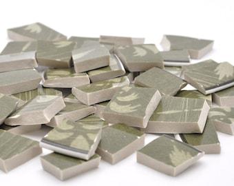 Broken China Mosaic Tiles - Shades of  Green - Recycled Plates - Set of 85
