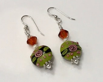 Sterling Silver, Swarovski Crystal and Lampwork Bead Earrings - FREE SHIPPING