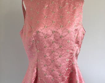 Light Pink Satin Sleeveless Top with Gold Embroidered Flowers