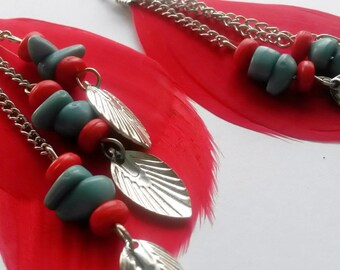 Southwest Inspired Feathered Earrings on Sterling Silver