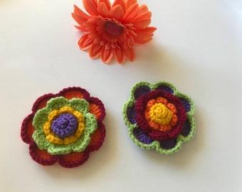 Crochet flowers, crochet appliqués, stocking stuffers,flower appliqués, embellishments, set of two flowers,