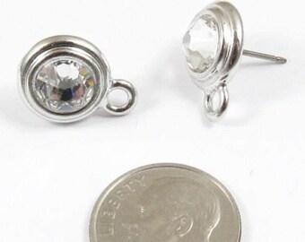 April Swarovski Birthstone Earring Posts-CRYSTAL & SILVER (1 Pair)