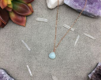 Amazonite Necklace, Amazonite Pendant, Layering Necklace, Minimalist,  Crystal Necklace, Amazonite Jewelry, Rose Gold Filled Necklace