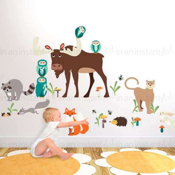 woodland animals wall decal peel and stick print animal. Black Bedroom Furniture Sets. Home Design Ideas