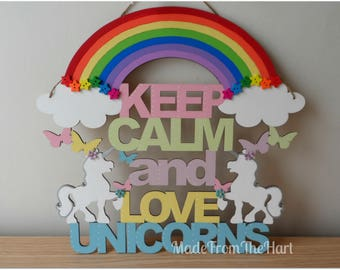 Keep Calm and Love Unicorns Colourful Wooden Plaque