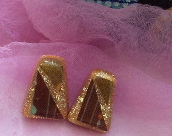 Glitter and Atomic Fabric Lucite Earrings