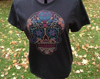 Rhinestud Sugar Skull, Ladies T-Shirt, Day of the Dead, Diamond and Flowers - DISCONTINUED