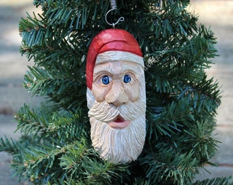 16 - Hand Carved Santa Ornament, Light Weight, Christmas Tree Ornament, Hand Painted Carving, Hand Carved from Northern Basswood, Folk Art