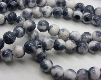 jade 8 mm black and white cloud 50 beads