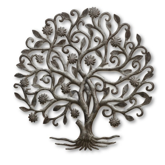 Flower Tree of Life, Quality Haitian Metal Art, One-of-a-Kind Sculpture 23 x 23