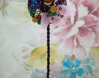 Handcraft Brooch Chain , Flower Long Necklace , Sweater Necklace ,Sweater Chain,Handmade Necklace,Beaded Necklace for Girls