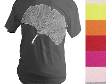 Made to Order Screen Printed T-Shirt, Ginkgo Leaf, Botanical, Men, Unisex, Pick Your Size, Various Colors, Graphic Tee, Handprinted in USA