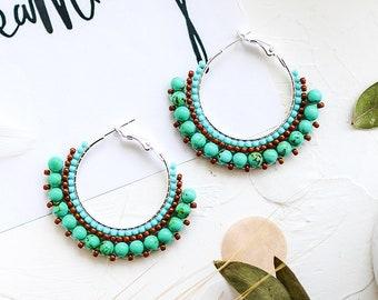 Mothers Gift Idea Boho Earrings Bohemian Earrings Gift for Her Genuine Turquoise Jewelry Turquoise Earrings December Birthstone Jewelry