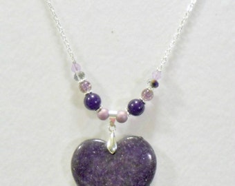 Purple Sparkle Sparkling Focal Stone Heart Pendant Necklace