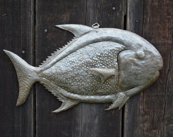 "Handmade Fish Under Water, Haiti Metal Art, 17"" X 11"""