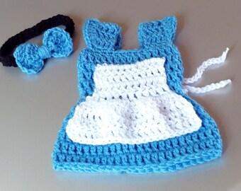 Alice in Wonderland Dress Baby Girl Photo Prop Crochet Alice in Wonderland Dress crochet alice baby dress