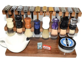"""The Ultimate Wood shaving Razor and Brush double decker stand 16"""" wide, Men's gift"""