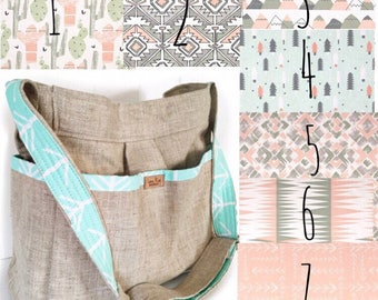 CHOOSE your Lining Linen  Diaper Bag