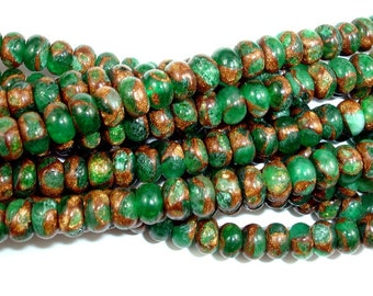Green Mosaic Stone Beads, 4 x 6 mm Rondelle Beads, 15.5 Inch, Full strand, Approx 100 beads, Hole 0.8 mm (327053001)
