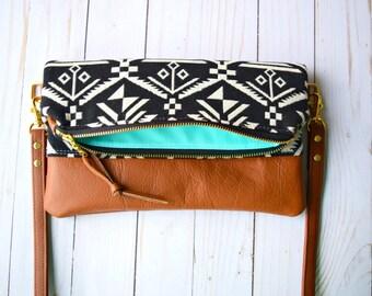 Woven aztec foldover crossbody bag, crossbody purse, aztec crossbody bag, tribal crossbody bag, genuine leather crossbody bag