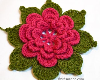 Crochet Flower Pattern with Leaves no86