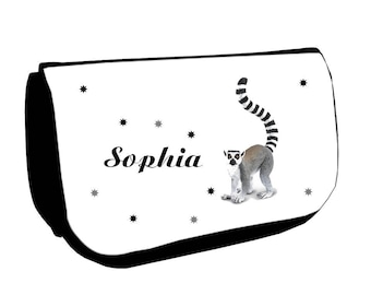 Black lemur /crayons make-up case personalized with name