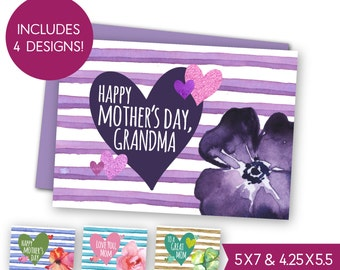 Happy Mother's Day Printable Card Bundle, Instant Download Grandma Greeting Card, Love You Mom E-Card, Best Mom Ever Watercolor Card S1204