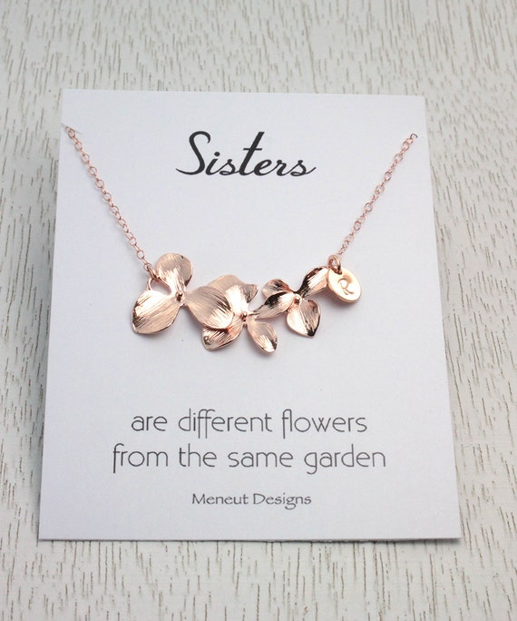 Personalized sisters necklace bridal gift for sisters personalized sisters necklace bridal gift for sisters gold and silver orchid flower necklace birthday gift for her sister in law gift negle Gallery