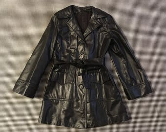 1970's, blell sleeve, belted, jacket, in black leather, Women's size 8