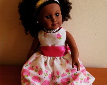 Dreamy White Strawberry Dress for 18 inch Doll