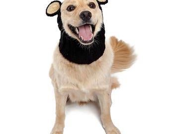 Black Bear Dog Snood | Knit Crochet Dog Hat | Dog Costume | Winter Scarf | Ear Warmer
