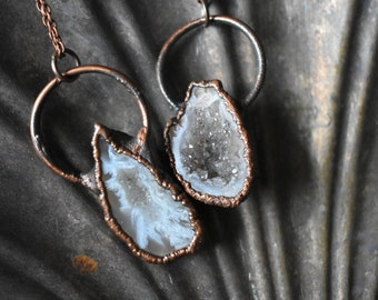 Pearly Agate Geode Druzy Necklace
