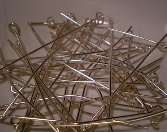 2 inch Silver Plated Eyepins - 60 pieces