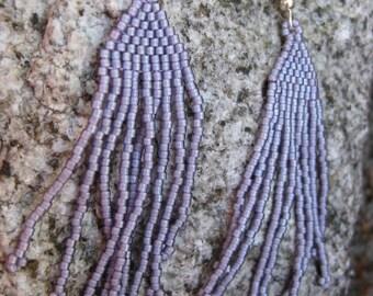 Purple Earrings| Fringe Earrings| Boho Earrings| Gift for Her