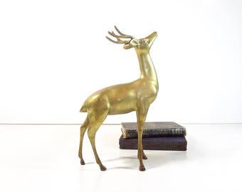 Vintage Brass Deer Figurine / Large Brass Reindeer Buck Stag Statue / Mid Century Rustic Decor