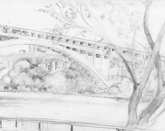 Bridge from northern Manhattan park - Inwood - print of an original pencil drawing - approx 8 x 10 inches