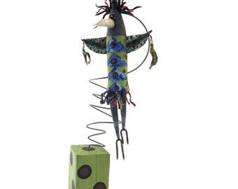 Great Queen - sacred crow art soft sculpture - crow art figure - OOAK intuitive art