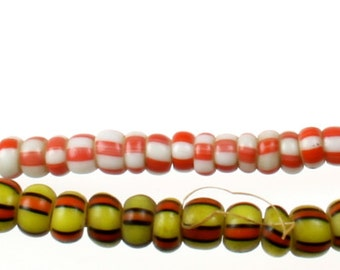Pink, White, Yellow, Orange, Black Striped Antique African Trade Drawn Venetian Pony Beads 3mm (STRAND)