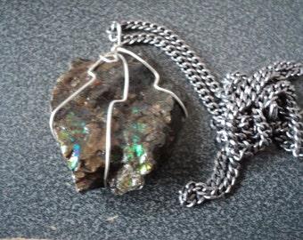 Necklace Ammonite in Silver tone Wire Wrap on Chain (1524)