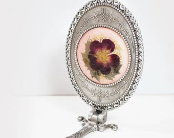 Red Rose Flower Stand and hand mirror - real pressed flower, under 30 gift idea, mothers day gift