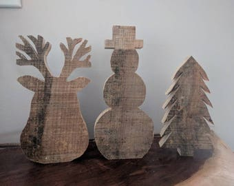 Rustic wood holiday figures: reindeer, snowman, Christmas tree